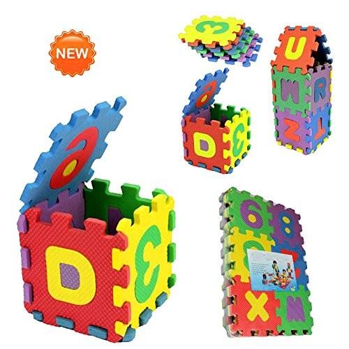 Hisoul Kids Puzzle Toy Set – 36 Pcs Baby Child Multicolor Number Alphabet Foam Maths