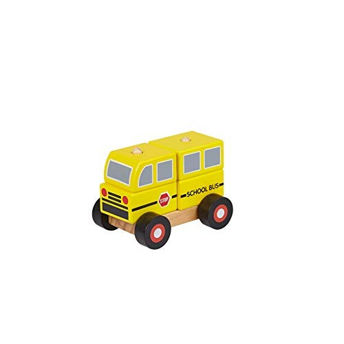 TOYSTER'S Wooden School Bus Building Blocks Toy for Kids Brain Educational Creative Toys Toddlers 4-Piece Buildable Preschool Wood Children 12 Months+ ED549