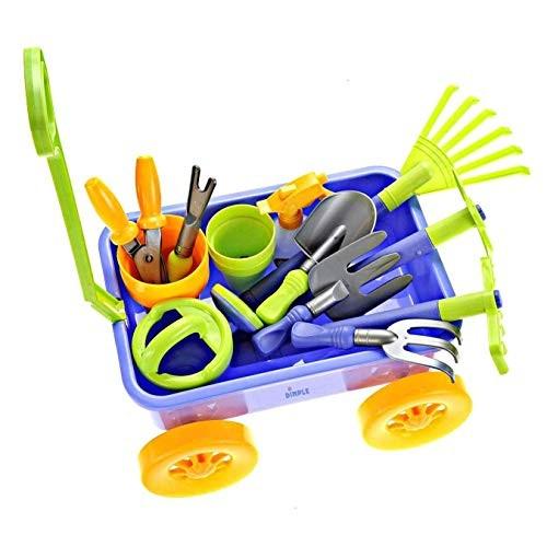 Dimple DCN12752 Garden Wagon & Tools Toy Set Premium 15Piece Gardening Tools & Wagon
