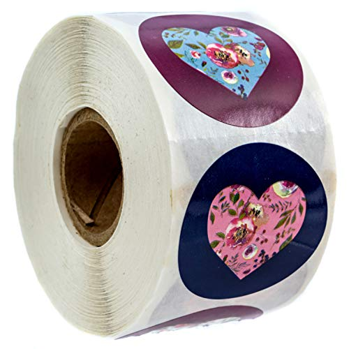Floral Hearts Stickers Happy Valentine's Day Stickers – 15 Circle Labels 500 Wedding per Pack