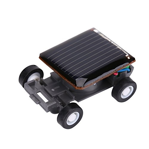 Dilwe Mini Solar Power Car Smallest Toy Racer for Kids Educational Playing Gift