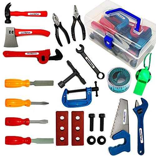 Durable Kids Tool Set For Toddler 22 Pieces Toddlers Educational Pretend Play Toys Construction Accessories Boys Tools Kit With a whistle – Storage In Sturdy Plastic Box