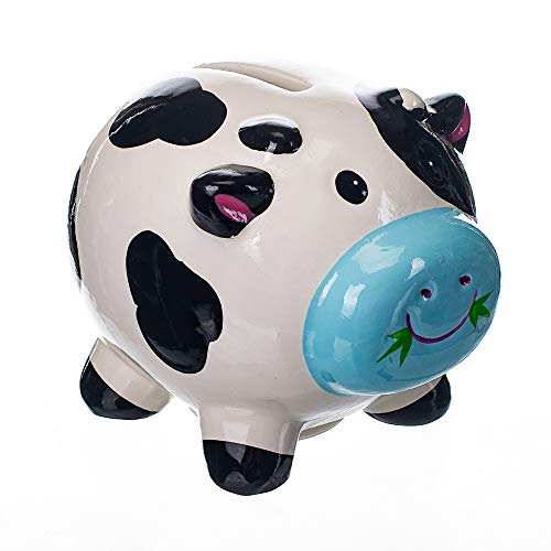 Gift Craft Dairy Cow Black & White 4 x 35 Inch Ceramic Decorative Coin Bank