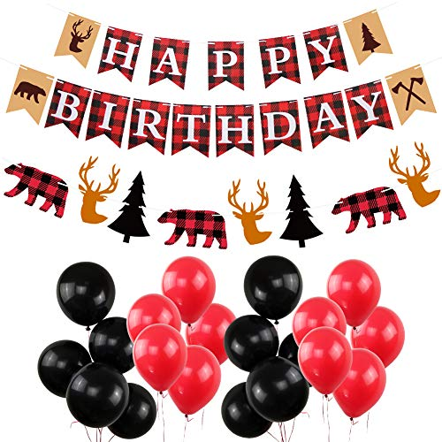 Lumberjack Happy Birthday Party Decorations New Year Banners Woodland Themed Timber Buffalo Plaid Garland Hanging Black and Red Balloons Winter Wonderland