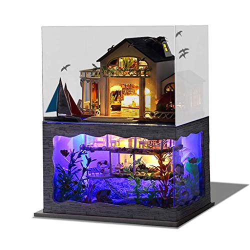 LtrottedJ 3D Wooden DIY Miniature House Furniture LED Puzzle Decorate Creative Gifts D