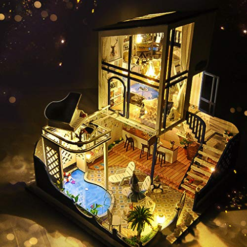 LtrottedJ 3D Wooden DIY Miniature House Furniture LED Puzzle Decorate Creative Gifts A