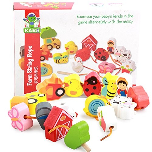 ETbotu Kids Wooden Stringing Beads Toys Puzzle Threading Building Blocks Game Farm