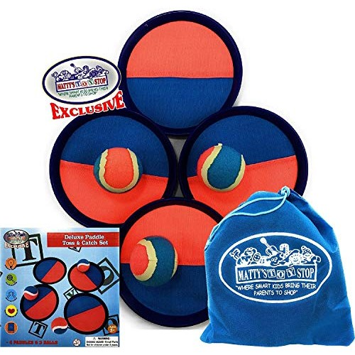 Matty's Toy Stop Deluxe Toss & Catch (Hook & Loop) Tropical Colors Paddle Game