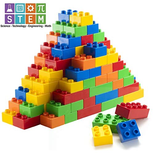 Prextex 150 Piece Classic Big Building Blocks Compatible with All Major Brands STEM Toy Bricks Set for Ages