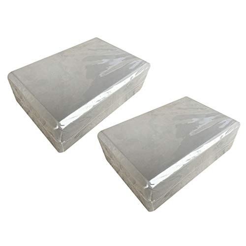 Yoga Block Set of 2 – Supportive Latex-Free EVA Foam Soft Non-Slip Surface for Pilates Meditation Grey 2PCS