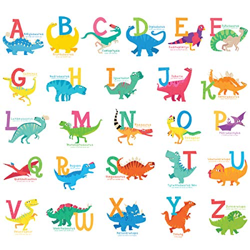 DECOWALL DS-8033 A-Z Dinosaur Alphabet Kids Wall Stickers Decals Peel and Stick Removable for Nursery Bedroom Living Room Small