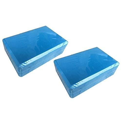 Yoga Block Set of 2 – Supportive Latex-Free EVA Foam Soft Non-Slip Surface for Pilates Meditation Blue 2PCS