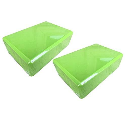 Yoga Block Set of 2 – Supportive Latex-Free EVA Foam Soft Non-Slip Surface for Pilates Meditation Green 2PCS