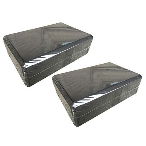 Yoga Block Set of 2 – Supportive Latex-Free EVA Foam Soft Non-Slip Surface for Pilates Meditation Black 2PCS