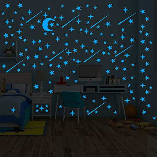 Glow in The Dark Stars Sticker 216 Pcs Ceiling Stickers Glowing for Star Wall Decal Kids Baby Room Birthday Gift Blue and Moon