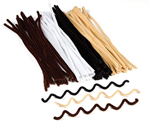 Baker Ross Natural Tones Pipe Cleaners in Black White Brown and Beige for Children to Make Models Decorate Crafts Pack of 100