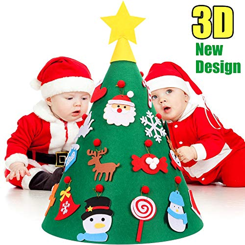 YEAHBEER 3D DIY Felt Christmas Tree for Kids – 18PCS xmas Detachable Hanging Ornaments Upgraded Toddler Gifts New Year Decorations