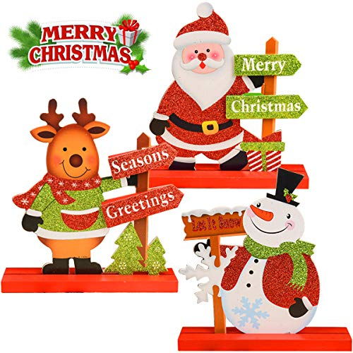 JTIEO Gift Boutique 3 Christmas Table Decorations for Dinner Party Coffee Snowman Santa Reindeer Merry Happy Holidays Centerpiece