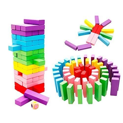 Aland 48Pcs Rainbow Color Wooden Building Blocks Children Assembling Educational Toys