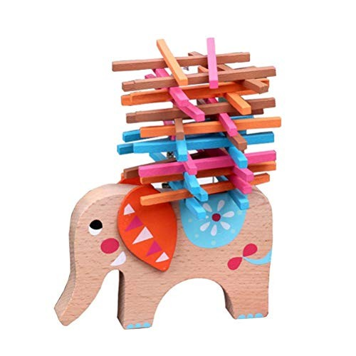 YeahiBaby Wooden Stacking Building Blocks Cute Elephant Toddlers Balancing Toy Games Playset Educational Toys for Kids Children
