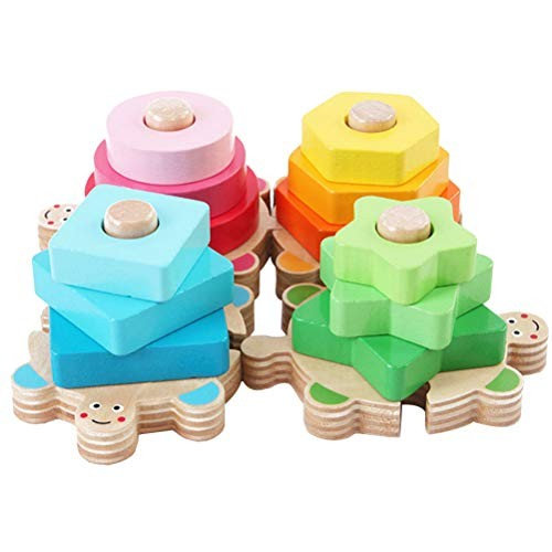 YeahiBaby Montessori Wooden Cylinder Socket Four Column Construction Toys Building Blocks Geometric Board Puzzle for Kids Children