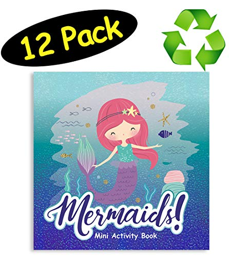 Mermaid Party Favor Mini Activity Books 100% Recycled Paper 12-pack 475 x inches