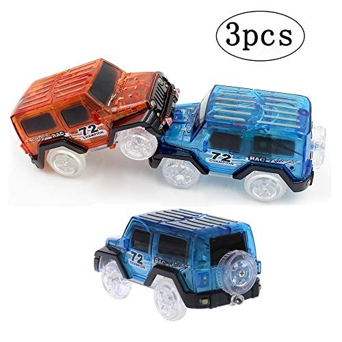 Tracks Cars Bend Flex and Glow in The Dark 3 pcs Kids LED Electric