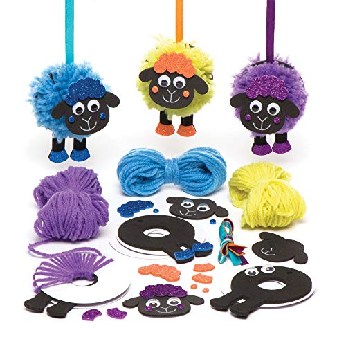 Baker Ross Fluffy Sheep Pom Kit Ornament Arts and Crafts for Kids to Create Display Pack of 3