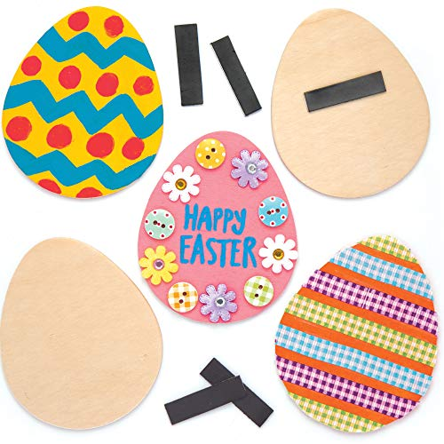 Baker Ross Easter Egg Wooden Magnets Crafts for Kids to Decorate Personalise and Display Pack of 10