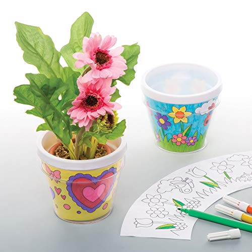 Baker Ross Mini Ready to Paint Plastic Plant Pot Kit for Kids Decorate and Display Pack of 2