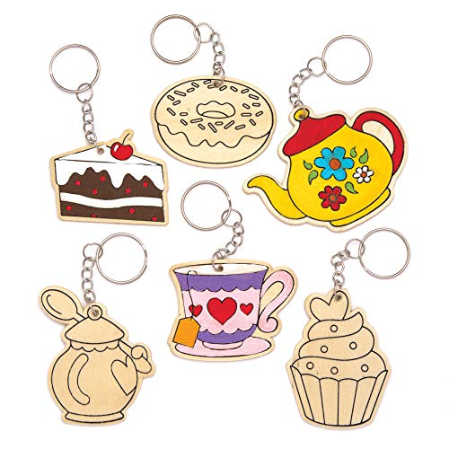 Baker Ross Tea Party Wooden Keyrings Pack of 8 for Kids to Decorate Personalize and Attach Keychains or Bags
