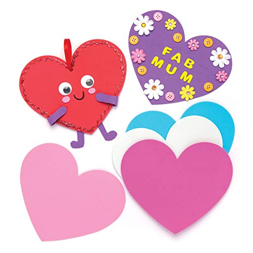 Baker Ross Heart Foam Blanks Class Pack Pack of 30 for Kids to Make Decorate and Personalize