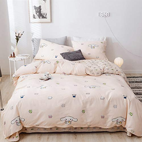 Bhusb Cute Cinnamoroll Print Kids Girls Bedding Duvet Cover Set Twin Soft Cotton Reversible Animal Dogs Pink Teens Boys Sets 3 Pc Single Bed Comforter Covers With Zipper Closure Educational Toys Planet
