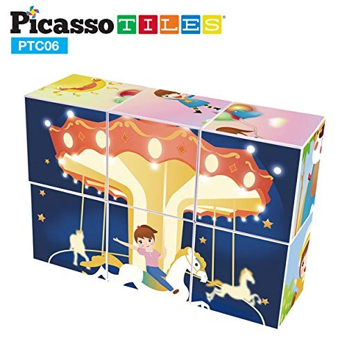 PicassoTiles Magnetic Puzzle Magic Cube Kids Toy Building Block Set Children Construction Stacking STEM Magnet Interconnect Interlocking Educational Learning Kit with 6 Different Picture Variety PTC06
