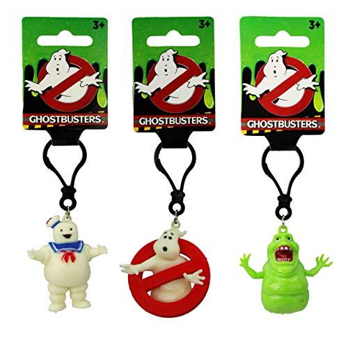 Ghostbusters 5 cm Figure Keyring Set of 3 Logo Stay Puft Marshmallow Man & Slimer Keyclip