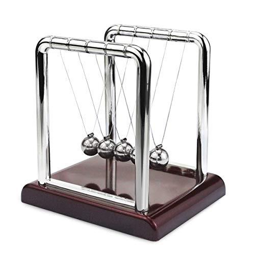 Oruuum Classic Newton Pendulum Ball – Brown Plastic Base Balance Desktop Entertainment Gadgets Small