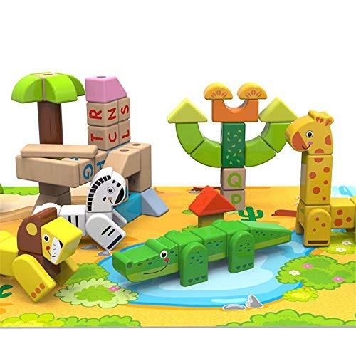LxWM Animal Building Blocks Large Particles Spelling Toy Wooden Assembling Puzzle Children's Toys80PCS