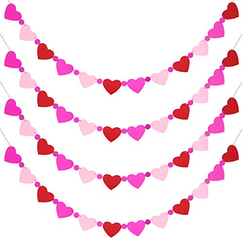 Jovitec 4 Pieces Valentine's Day Love Heart Banners Paper Garland Banner with Ball Shape Hanging Decoration for Wedding Party Ornaments