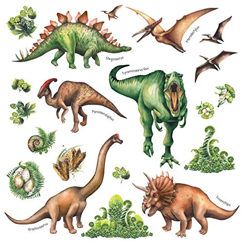 DECOWALL DS-8034 Watercolour Dinosaur Kids Wall Stickers Decals Peel and Stick Removable for Nursery Bedroom Living Room Small