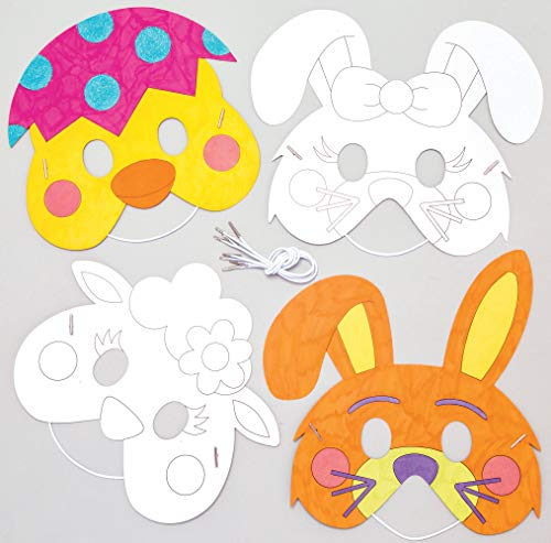 Baker Ross Easter Color-in Masks Pack of 8 Crafts for Kids to Decorate Personalize and Wear Fancy Dress