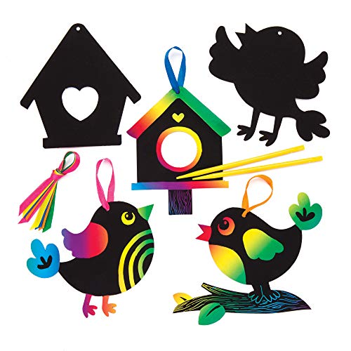 Baker Ross Bird Scratch Art Decorations Pack of 10 Spring Themed Crafts for Kids to Decorate and Display