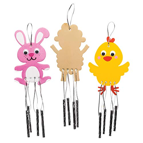 Baker Ross Easter Wooden Windchimes Pack of 4 Crafts for Kids to Decorate and Display
