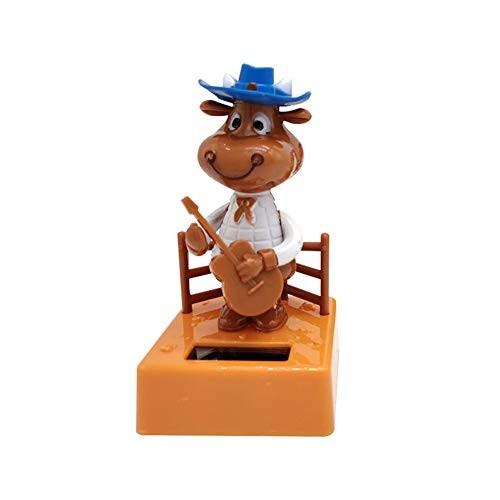 heaven2017 Solar Swinging Toys Calf Playing Guitar Car Dashboard Ornament Gift