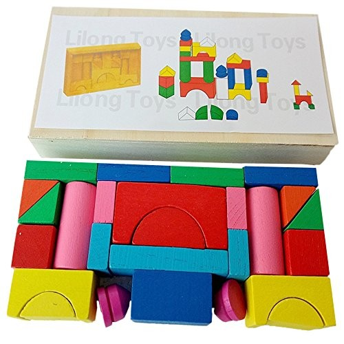 Hisoul Desktop Games Toy Kids Educational Wooden Toys Mini Castle Building Blocks Geometric Shape Cognitive – Best Gifts for Boys and Girls Multicolor