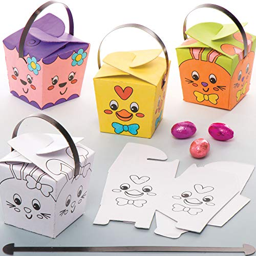Baker Ross Easter Color in Treat Boxes Crafts for Kids to Assemble Decorate and Use Egg Hunting Pack of 12