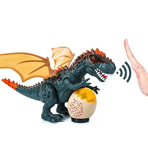 Hand-Controlled Dinosaur Toys Walking T-Rex Dinasors for with Bright LEDs Light Up Moving Head & Tail Realistic Dino Roaring Sound Robot Toy Battery Powered Green