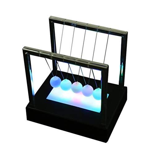 Vosarea Cradle Desktop Gadget LED Multi-Color Change Shine Light Ball Balance Physics Science Toy Desk Decoration
