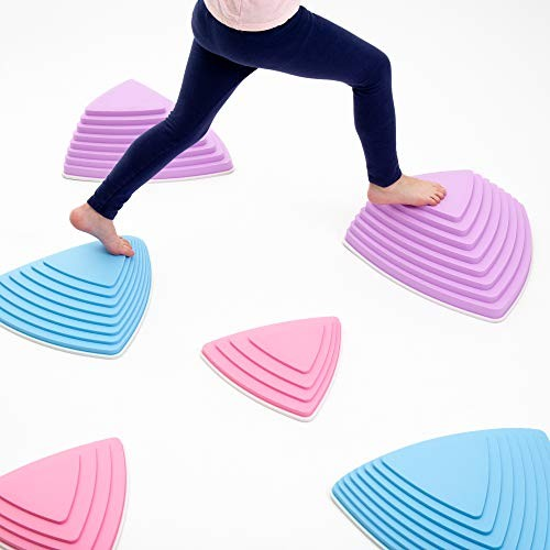 JumpOff Jo Rocksteady Balance Stepping Stones for Kids Promotes & Coordination Set of 6 Blocks Tall Pastel Colors