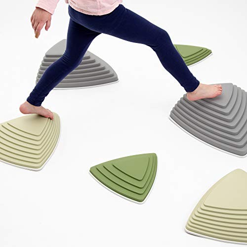 JumpOff Jo Rocksteady Balance Stepping Stones for Kids Promotes & Coordination Set of 6 Blocks Tall Camo Colors
