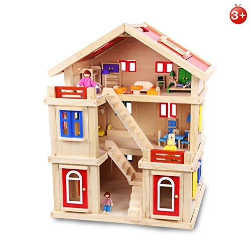AHWZ Doll House Children's Educational Wooden Toy Creative Building Blocks DIY Set